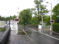 The new operational level crossing at Cambus seen looking north on a wet 10 May 2008.<br><br>[Michael Gibb&nbsp;10/05/2008]