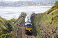 The northbound <I>Royal Scotsman</I> approaches Kinghorn Tunnel behind 47 804 on 12 May 2008. Burntisland stands in the background.<br><br>[Bill Roberton&nbsp;12/05/2008]
