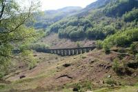 View west across Glen Ogle on 14 May 2008, showing the viaduct that carried the Callander & Oban on the climb north to Killin Junction.<br><br>[John Furnevel&nbsp;14/05/2008]