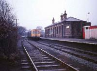 A DMU stands at the buffer stops at Clayton West in 1974.<br><br>[Ian Dinmore&nbsp;//1974]