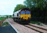 A light 66084 heads west at Blackgrange. This slotted in between the passenger trains on the first public day of service.<br><br>[Ewan Crawford&nbsp;19/05/2008]