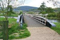 The bridge that once carried the Peebles Railway over the Tweed south of Innerleithen, seen looking north on 18 May 2008. The bridge has recently been refurbished and now forms part of a walkway.<br><br>[John Furnevel&nbsp;18/05/2008]