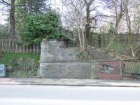 Remains of the Hawkhead Road railway bridge just to the west of Dykebar station in Paisley<br><br>[Graham Morgan&nbsp;05/04/2008]