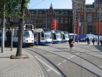Ready, steady go! A line up of trams wait departure outside Amsterdam Central station.<br><br>[Michael Gibb&nbsp;21/05/2008]