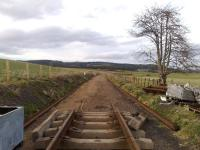 The end of the line in April 2008. The Strathspey Railway is being extended towards Grantown-on-Spey from Broomhill.<br><br>[Alan Cormack&nbsp;26/04/2008]