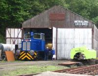 The newly repainted and fully operational former MoD Hunslet diesel 250 (ex-Rosyth Dockyard) photographed on 18 May 2008 standing outside Shed 47 at the Scottish Vintage Bus Museum site, Lathalmond.<br><br>[Grant Robertson&nbsp;18/05/2008]