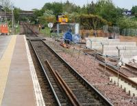 View east towards Gretna Junction from Gretna Green station on 21 May 2008. A section of  the new down line can be seen on the right and work is currently underway on construction of the second plaftorm.<br><br>[John Furnevel&nbsp;21/05/2008]