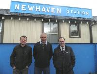 Newhaven station on 27 April 2012. See here either side of Richard Arnot are Patrick Hutton and Lawrence Marshall of the Capital Rail Action Group. [See adjacent news item]<br><br>[John Yellowlees&nbsp;27/04/2012]