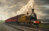This painting by C. Hamilton Ellis portrays a westbound NBR train to the west of Cardross. It is currently on show in Helensburgh Library having been loaned by Mr Andrew Dow, former head of the National Railway Museum, York. The Helensburgh Heritage Trust exhibition to mark the 150th anniversary of the opening of the line closes at the end of May.<br><br>[Ewan Crawford&nbsp;28/05/2008]