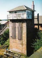 The exceptionally tall signal box at Plean Junction, photographed looking southwest from an overbridge in September 1999.<br><br>[David Panton&nbsp;/09/1999]