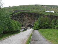 View east along the platforms towards Sheffield and the 1954 tunnel at the former Woodhead station on 24 May. The lorry is heading for Manchester on the winding A628 road.<br><br>[John McIntyre&nbsp;24/05/2008]