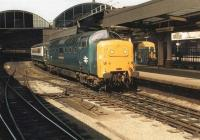 Deltic 55016 <I>Gordon Highlander</I> at a sunny Newcastle Central on 22 June 1981 about to head north with train 1S12, the 0550 Kings Cross - Aberdeen.<br><br>[Colin Alexander&nbsp;22/06/1981]