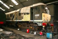 BR Sulzer Type 2 D5032 undergoing refurbishment and restoration work in April 2008 at the NYMR's Grosmont depot.<br><br>[John Furnevel&nbsp;03/04/2008]