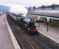LMS 5025 northbound through Kingussie with a special on 12 June 1982. <br><br>[Peter Todd&nbsp;12/06/1982]