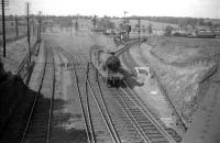 Superheated <I>Scott</I> class 4-4-0 62418 <I>The Pirate</I> at Inverkeithing Central Junction in 1958 with a train off the Dunfermline line. The locomotive was withdrawn the following year.<br><br>[Robin Barbour Collection (Courtesy Bruce McCartney) //1958]