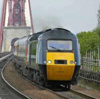 The 0950 Aberdeen - Kings Cross HST comes off the Forth Bridge and into Dalmeny station on 6 June 2008.<br><br>[Bill Roberton&nbsp;06/06/2008]