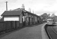 The station building at Beith Town in July 1962 with a diesel railcar standing at the platform.<br><br>[Colin Miller&nbsp;18/07/1962]