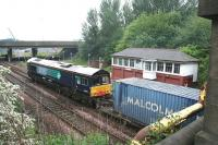 DRS 66401 sets off from Fouldubs Junction on 30 May 2008 with containers for Aberdeen.<br><br>[John Furnevel&nbsp;30/05/2008]