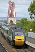 09.50 Aberdeen-Kings Cross with <I>white-stripe</I> power car leading NXEC stock runs off The Forth Bridge and through Dalmeny on 11 June.<br><br>[Bill Roberton&nbsp;11/06/2008]