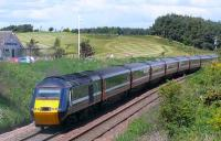 National Express East Coast HST service passing St Michaels Golf Club near Leuchars in June 2008.<br><br>[Brian Forbes&nbsp;/06/2008]