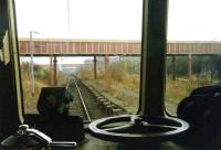 Drivers-eye view along the former mainline platforms at Rutherglen in October 1993.<br><br>[David Panton&nbsp;/10/1983]