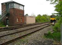 The signal box at Horrocksford Junction on 17 May 2008 with 150143 crossing over before running back to Clitheroe station where it will form the next service to Manchester Victoria.<br><br>[John McIntyre&nbsp;17/05/2008]