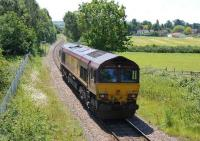 EWS 66175 heading <I>light engine</I> back towards Bristol along the Portbury branch on 19 June near the former Clifton Bridge station.<br><br>[Peter Todd 19/06/2008]