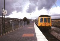 DMU at Aberdare in 1982 preparing for the journey back down the valley to Cardiff.<br><br>[Ian Dinmore&nbsp;//1982]