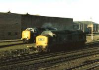 37242 ambles past 55012 <I>Crepello</I> in the yards at Gateshead shed on 7 March 1981. The Deltic had gone for scrap within 6 months.<br><br>[Colin Alexander&nbsp;07/03/1981]