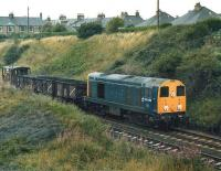 20090 approaching Craiglockhart Junction from the Gorgie direction on the Edinburgh <I>sub</I> with a lightweight freight circa 1981.<br><br>[Bill Roberton&nbsp;//1981]