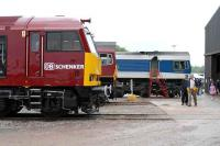 Locomotives on display at the East Somerset Railway Gala Day on 21 June, including a class 60 bearing the rail freight branding of the new owners of EWS. <br><br>[Peter Todd&nbsp;21/06/2008]