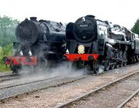 A World War II US Army Transportation Corps S160 class locomotive stands alongside BR 9F 92203 <I>Black Prince</I> at the East Somerset Railway 150 Gala day at Merehead Quarry on 21 June 2008.<br><br>[Peter Todd&nbsp;21/06/2008]