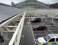 Looking into Aberdeen station from Guild Street Bridge on 19 June showing the revised layout, including drop-off point, taxi rank and parking bays covering the site of the former GN bay platforms 10 and 11.<br><br>[Andy Furnevel&nbsp;19/06/2008]