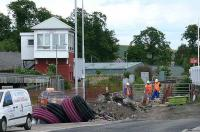 Cupar signal box looks over improvements to the station car park at the north end.<br><br>[Brian Forbes&nbsp;23/06/2008]