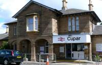 Main entrance to Cupar station on 23rd June. Temporary fencing protecting work site.<br><br>[Brian Forbes&nbsp;23/06/2008]