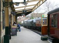 Platform scene at Pickering on 3 April 2008 looking south, with a train for Grosmont boarding at platform 1 and D6700 having just arrived at platform 2 with empty stock.<br><br>[John Furnevel&nbsp;03/04/2008]