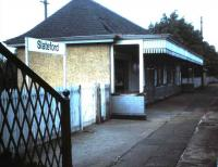 The disused buiding on the eastbound platform at Slateford in October 1985.<br><br>[David Panton&nbsp;01/10/1985]