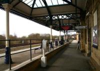The <I>step-up</I> platform arrangement in place at the 1845 Malton station looking west towards York on 2 April 2008. Note the relocated ex-Whitby station canopy that now stands in place of the original overall roof here.  <br><br>[John Furnevel&nbsp;/04/2008]