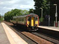 Southbound arrival at Pollokshaws West on 14 June is 156 495 on a Glasgow Central - Barrhead service. <br><br>[David Panton&nbsp;14/06/2008]