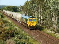 Freightliner liveried 66613 climbs towards Daviot with a southbound train of cement wagons on 26 June 2008.<br><br>[John Gray&nbsp;26/06/2008]