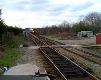 View west from the platform at Bamber Bridge station towards the former Bamber Bridge Junction on 18 March 2008 as 158 758 approaches on a Blackpool North - York service. The junction once provided a direct route to the East Lancs side of Preston station. <br><br>[John McIntyre&nbsp;18/03/2008]
