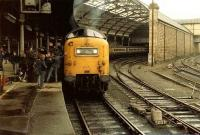 1V93 Edinburgh - Plymouth about to leave Newcastle Central in March 1981 behind 55022 <I>Royal Scots Grey</I>, with the usual crowd of admirers.  <br><br>[Colin Alexander&nbsp;14/03/1981]