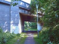 Bridge over the trackbed of the line that once served the Mavor & Coulson works at Nerston, East Kilbride. Photographed in July 2008. <br><br>[Fraser Cochrane&nbsp;02/07/2008]