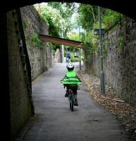 A provisional member of the <i>Hells Angels Alloa Junior Chapter</i> speeds north through the Drysdale Street/Mar Street <I>underpass</I> along the former route of the Alloa Wagonway on 2 July 2008. View north towards the Station Hotel.  <br><br>[John Furnevel&nbsp;02/07/2008]
