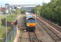 DRS 66419 about to cross over at Fouldubs Junction on 2 July pending departure with the 4A13 Grangemouth - Aberdeen Intermodal <br><br>[John Furnevel&nbsp;02/07/2008]