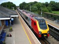 Looking north along the Up platform at Tiverton Parkway on 28 June as an Edinburgh bound Cross Country Voyager, with 435 miles still to go, sets off on the next leg of its journey.<br><br>[John McIntyre&nbsp;28/06/2008]
