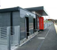 The modern design of the station building at Alloa. View west from the buffer stops on 1 July 2008.<br><br>[Veronica Inglis&nbsp;01/07/2008]