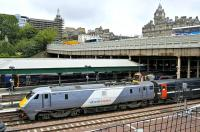 The first of the class to be turned out in full <I>National Express East Coast</I> livery, 91111 stands at Waverley on 10 July 2008 on a Glasgow Central - Kings Cross service. <br><br>[Bill Roberton&nbsp;10/07/2008]