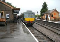 A DMU for Minehead has just arrived at Williton station on the West Somerset Railway on 5 July 2008.<br> <br><br>[John McIntyre&nbsp;05/07/2008]