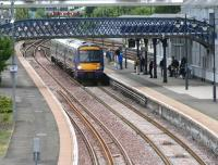 <I>'The train at platform 6 is for Alloa only...'</I>  An afternoon service from Glasgow Queen Street pulls into Stirling on 12 June 2008 where passengers prepare to board for the last leg to Alloa. <br><br>[John Furnevel&nbsp;12/06/2008]
